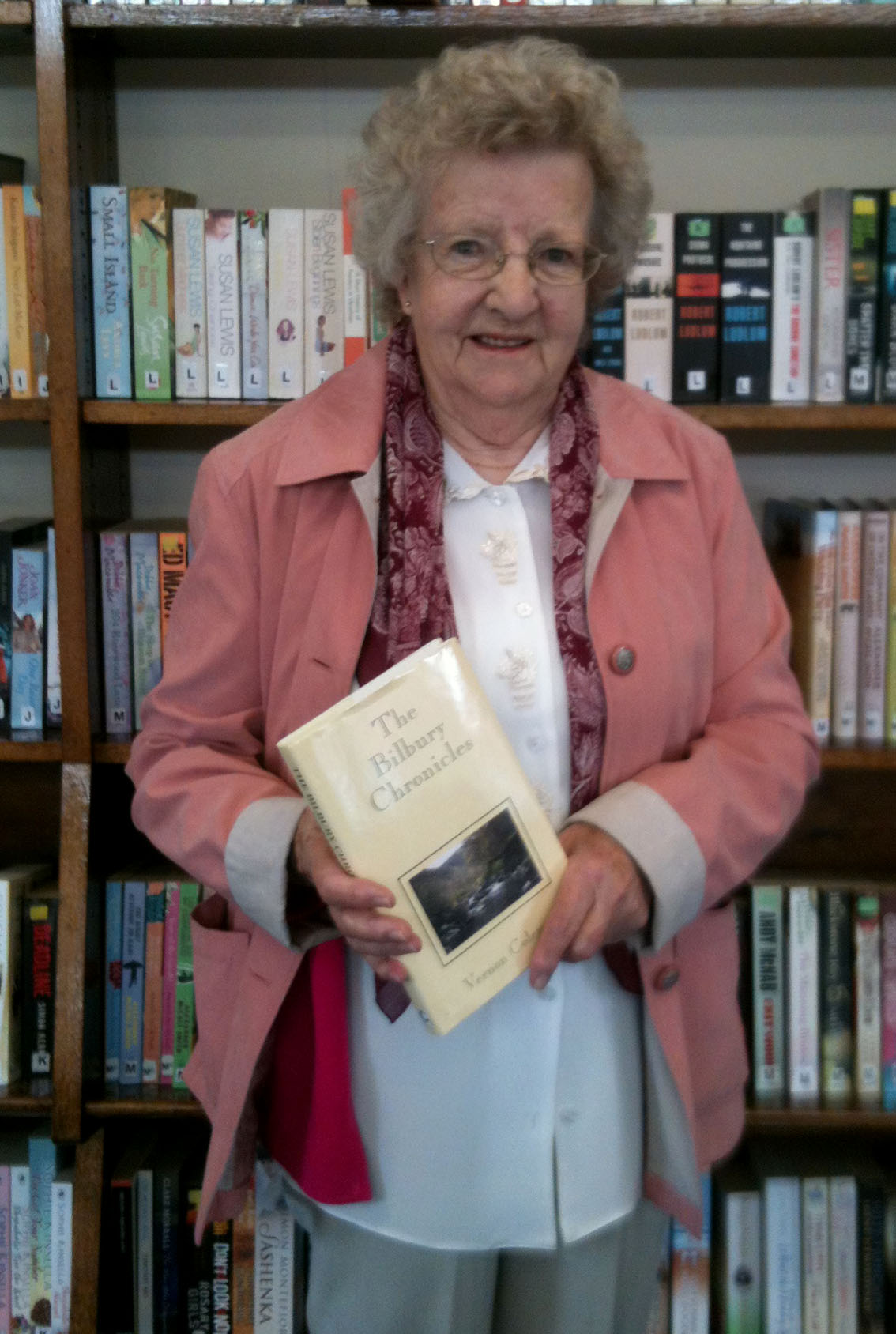 Patricia takes out our 10,001th book The Bilbury Chronicles by Vernon Coleman. Her 124th!